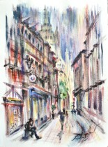 Description: Rue St Romain, une vue sur l'Eglise St Maclou à Rouen Auteur: Zharaya Eugeniya