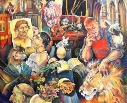 Description: St Jérôme-Coeur de lion_Jérôme Thoumyre et Jérôme Bosch dans la boutique de Curiosité à Rouen Auteur: Eugéniya Zharaya